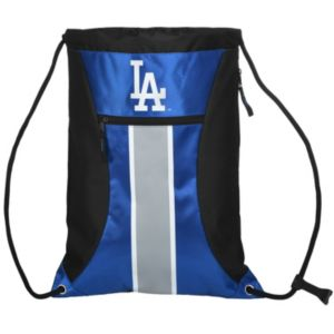 Forever Collectibles Los Angeles Dodgers Striped Zipper Drawstring Backpack