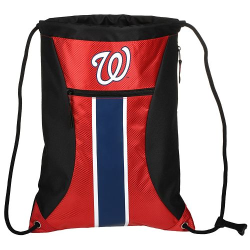 Forever Collectibles Washington Nationals Striped Zipper Drawstring Backpack