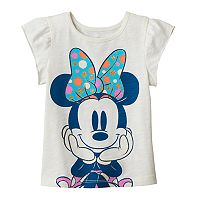 Disney's Minnie Mouse Toddler Girl Flutter Short Sleeve Glitter Graphic Tee
