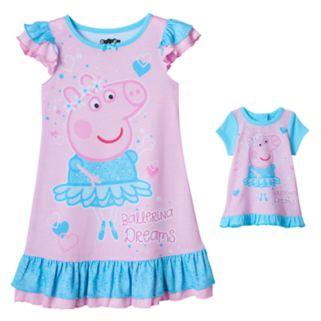 "Toddler Girl Peppa Pig ""Ballerina Dreams"" Dorm Nightgown & Doll Dress Set"