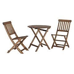 Linon Catalan Patio Bistro Table & Chairs 3 pc Set