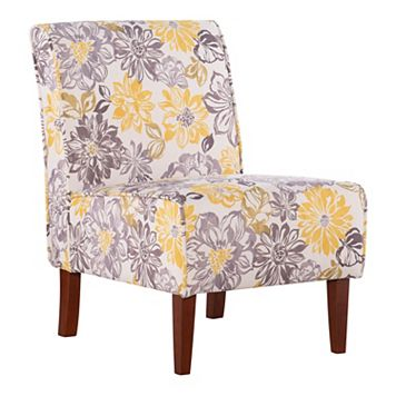 Linon Lily Floral Armless Accent Chair