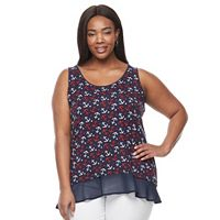 Plus Size Kate and Sam Print Jersey Tank