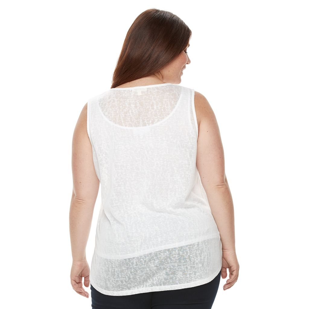Plus Size Kate and Sam Flag Burnout Graphic Tank