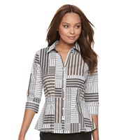 Petite Dana Buchman Pleated Peplum Shirt