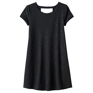 Girls 7-16 & Plus Size SO® Cutout Short Sleeve Glitter Swing Dress
