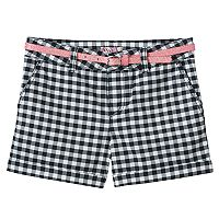 Girls 7-16 & Plus Size SO® Glitter Belt Printed Chino Shorts