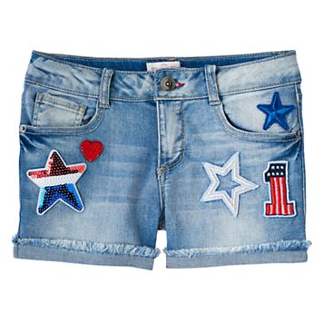 Girls 7-16 & Plus Size SO® Americana Light Wash Patched Jean Shorts