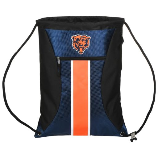 Forever Collectibles Chicago Bears Striped Zipper Drawstring Backpack