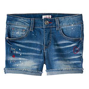 Girls 7-16 & Plus Size SO® Americana Medium Wash Embroidered Jean Shorts