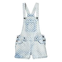 Girls 7-16 SO® Acid Wash Gingham Plaid Denim Shortalls