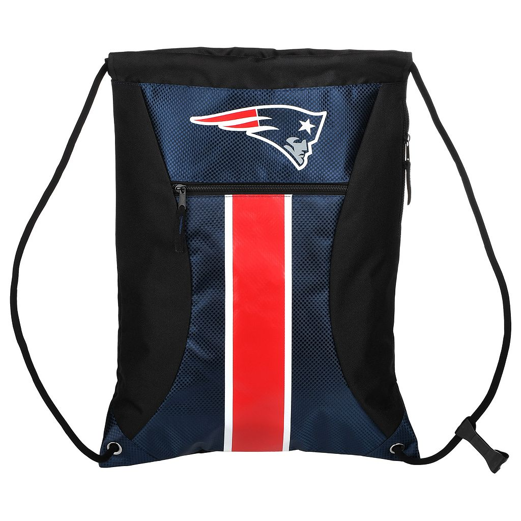 Forever Collectibles New England Patriots Striped Zipper Drawstring Backpack