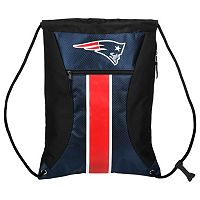 Forever Collectibles New EnglandPatriots Striped Zipper Drawstring Backpack