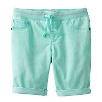 Girls 7-16 SO® Paint Splatter Ribbed Waist Bermuda Shorts