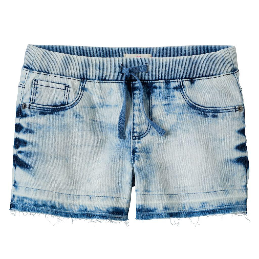Girls 7-16 & Plus Size SO® Ribbed Waist Acid Wash Jean Shortie Shorts