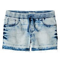 Girls 7-16 & Plus Size SO® Ribbed Waist Acid Wash Jean Shortie Shorts