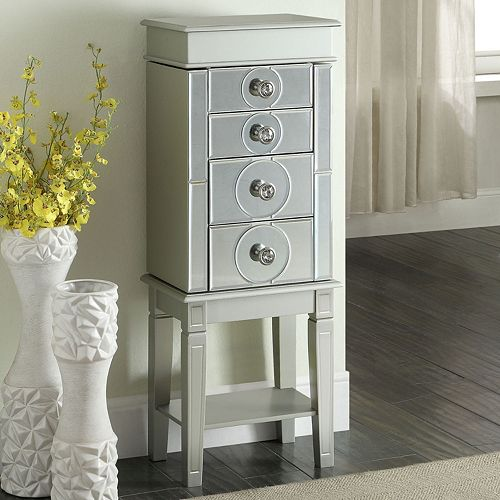 Linon Madison Mirrored 4-Drawer Jewelry Armoire