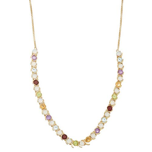 18k Gold Over Silver Gemstone Statement Necklace