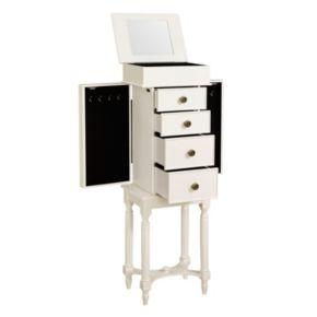 Linon Cyndi White 4-Drawer Jewelry Armoire