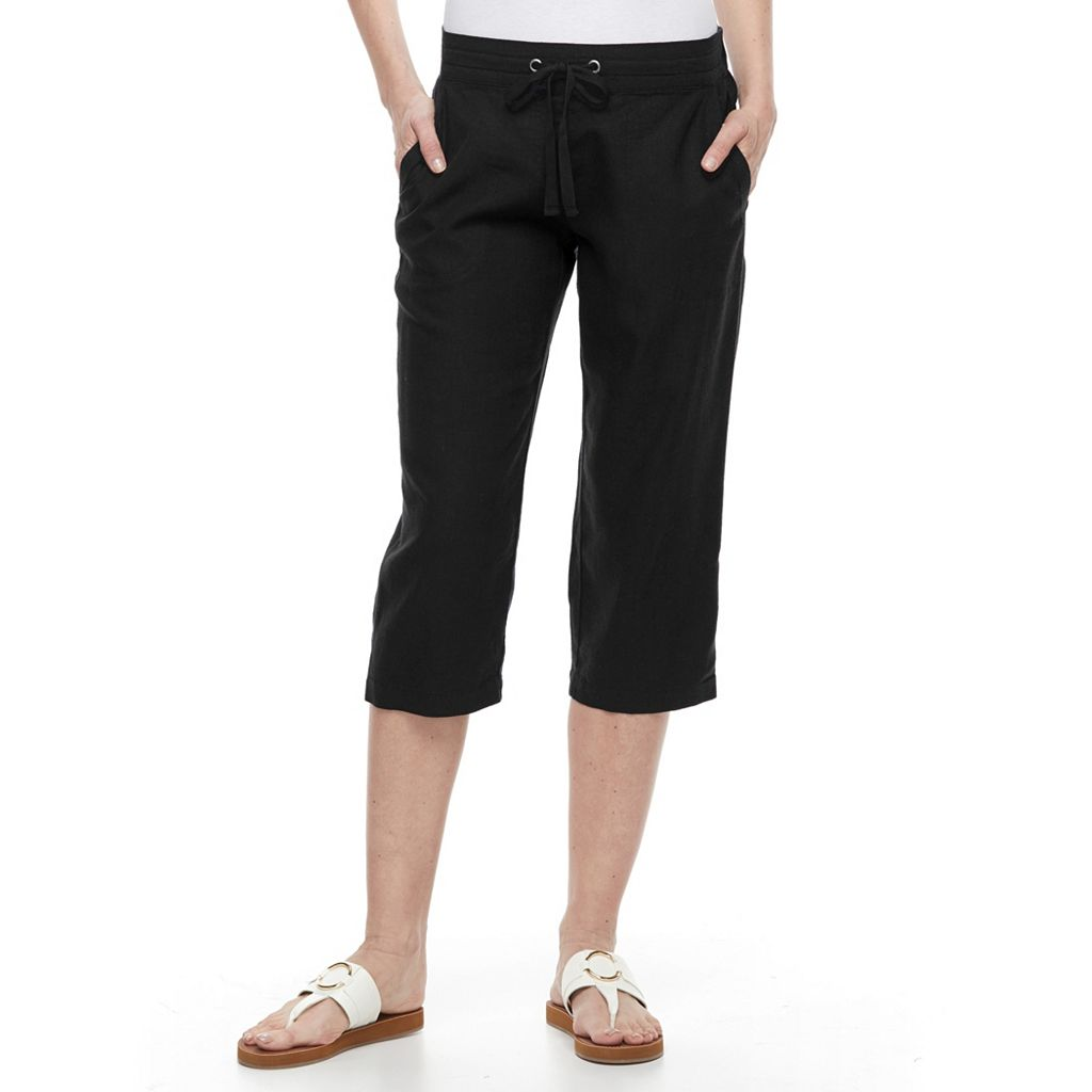 Women's Croft & Barrow® Linen-Blend Capris