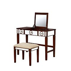 Linon Madison Vanity & Stool 2 pc Set