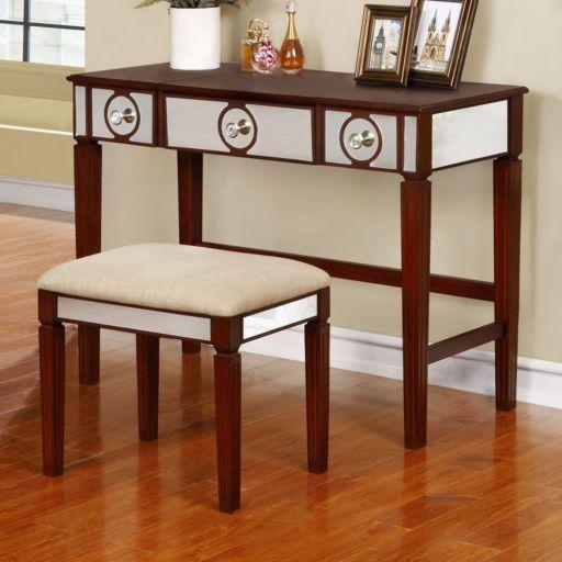 Linon Madison Vanity & Stool 2-piece Set