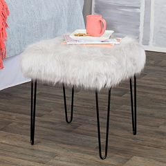 HomePop Gray Faux-Fur Stool End Table