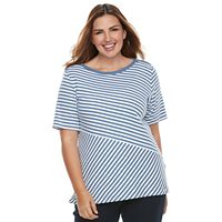 Plus Size Croft & Barrow® Striped Button-Shoulder Tee