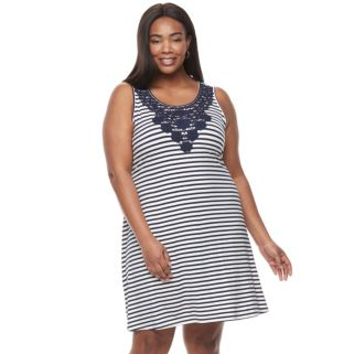 Plus Size Kate and Sam Stripe Dress with Crochet Inset