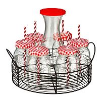 Artland Gingham 21-pc. Carafe with Caddy Beverage Set