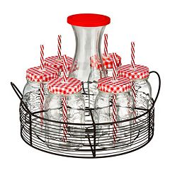 Artland Gingham 21 pc Carafe with Caddy Beverage Set
