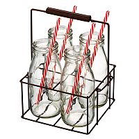Artland Gingham 9-pc. Milk Bottle Set with Caddy