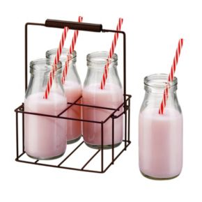 Artland Gingham 9-pc. Milk Bottle Set with Caddy