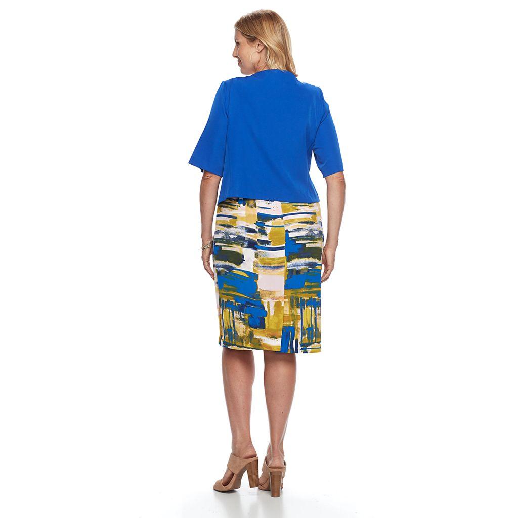 Plus Size Maya Brooke Watercolor Sheath Dress & Jacket Set
