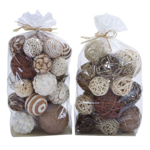 Rustic Assorted Ball Vase Filler 44-piece Set