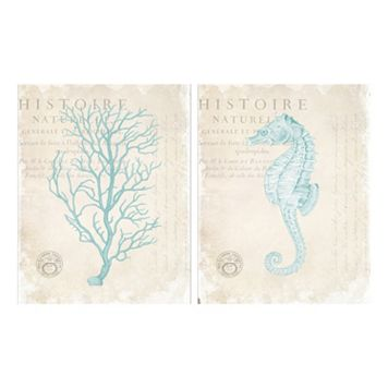 Blue Coral & Seahorse Canvas Wall Art 2-piece Set