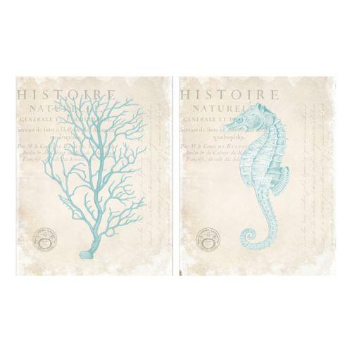 Blue Coral & Seahorse Canvas Wall Art 2-piece Set