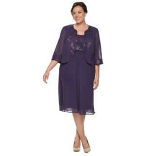 Plus Size Le Bos Floral Embroidered Dress & Jacket Set
