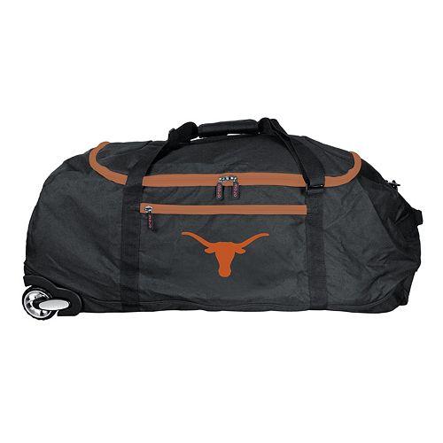 Denco Texas Longhorns Wheeled Collapsible Duffel Bag