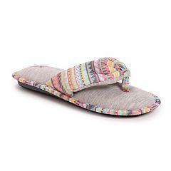 MUK LUKS Women's Dawna Memory Foam Thong Slippers
