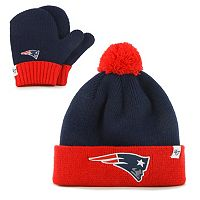 Youth '47 Brand New England Patriots Bam Bam Beanie & Mittens Set