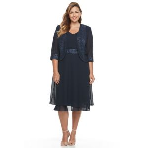 Plus Size Le Bos Glitter Trim Dress & Jacket Set