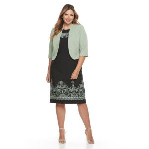 Plus Size Maya Brooke Floral Scroll Dress & Jacket Set