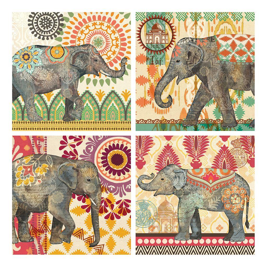 Caravan Elephant Canvas Wall Art 4-piece Set
