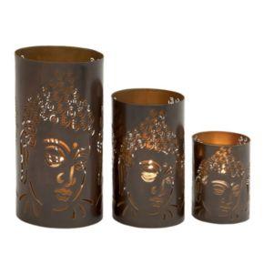Buddha Pillar Candle Holder 3-piece Set