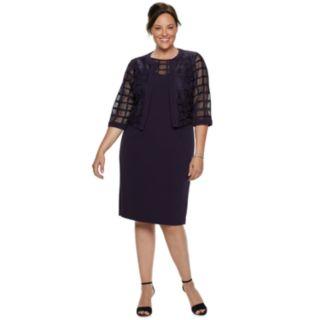 Plus Size Maya Brooke Georgette Sheath Dress & Jacket Set