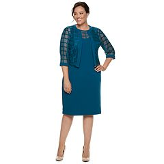 Plus Size Maya Brooke Georgette Sheath Dress & Jacket Set