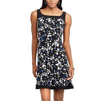Petite Chaps A-Line Floral Dress