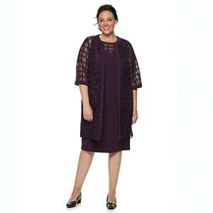 Plus Size Maya Brooke Beaded Lace Duster Jacket Dress