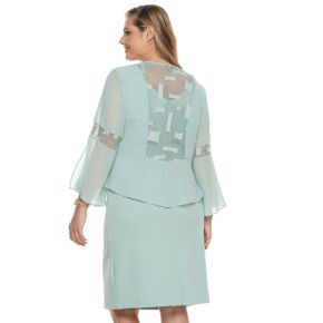 Plus Size Le Bos Sheath Dress & Georgette Jacket Set